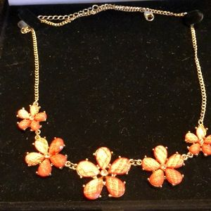 Floral coral colored necklace